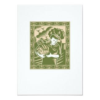 Organic Farmer With Basket Harvest Crops Retro 4.5x6.25 Paper Invitation Card