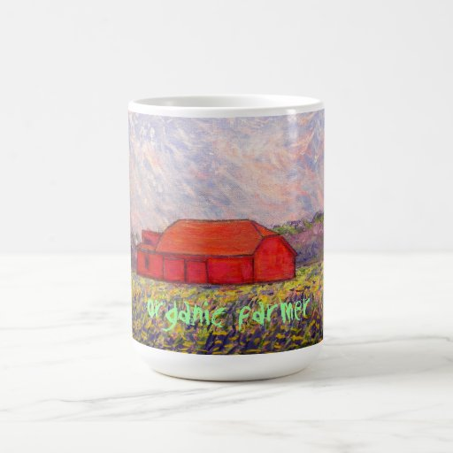 organic farmer with red barn art classic white coffee mug