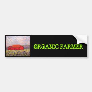 organic farmer with red barn car bumper sticker
