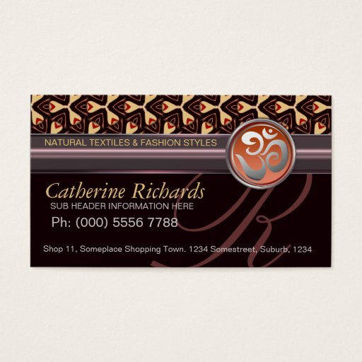 Organic Fashion Tribal Textile Business Cards