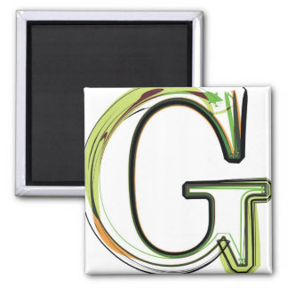 Organic Font illustration 2 Inch Square Magnet