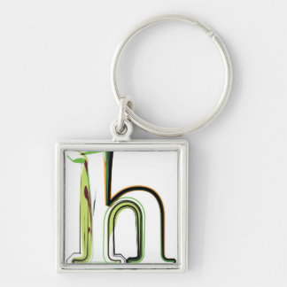 Organic Font illustration Silver-Colored Square Keychain
