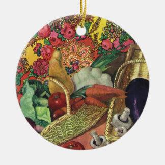 Organic Food, Garden Vegetables, Blooming Flowers Ceramic Ornament