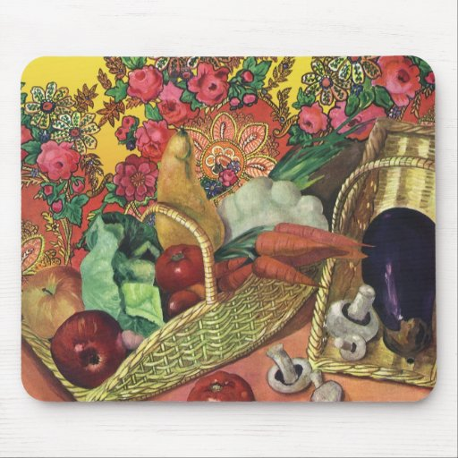 Organic Food, Garden Vegetables, Blooming Flowers Mousepads