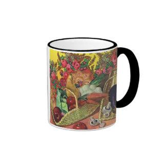 Organic Food, Garden Vegetables, Blooming Flowers Ringer Coffee Mug