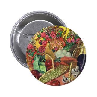 Organic Food, Garden Vegetables, Blooming Flowers Pinback Button