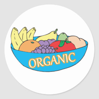 organic fruit bowl classic round sticker