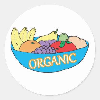organic fruit bowl round sticker