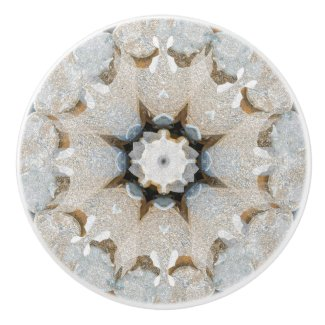Organic Geometric Neutral Graphic Stone Mandala Ceramic Knob