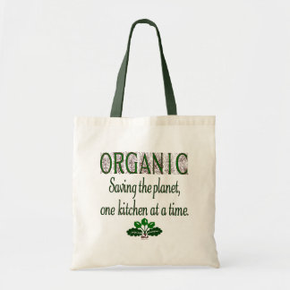 Organic Green Kitchen Saying Canvas Tote