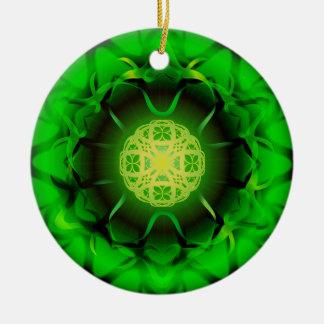 Organic Green Mandala Ceramic Ornament