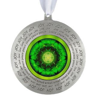Organic Green Mandala Pewter Ornament