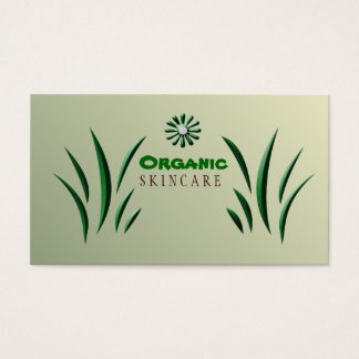 Organic Green with Flowers Business Card
