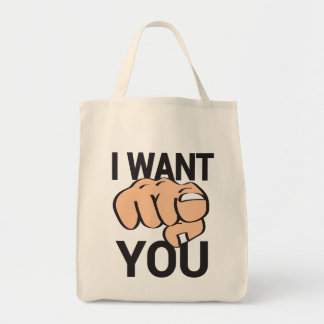 Organic Grocery Tote wit pointing finger Canvas Bags