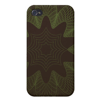 Organic Guilloche Flower brown green iPhone 4/4S Cases