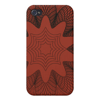 Organic Guilloche Flower red black iPhone 4/4S Case