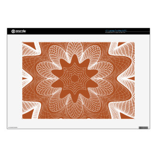 """Organic Guilloche Flower red orange Decal For 15"""" Laptop"""