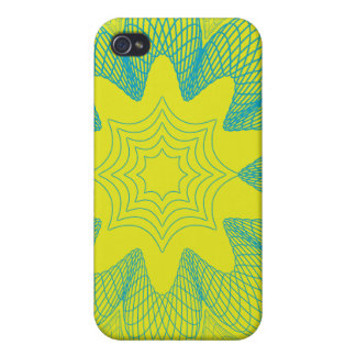 Organic Guilloche Flower yellow blue iPhone 4 Cover