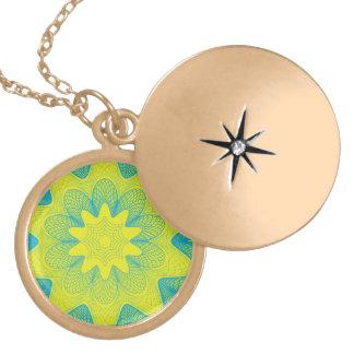 Organic Guilloche Flower yellow blue Round Locket Necklace