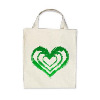 Organic Heart Green Grocery Tote Bag