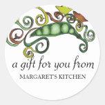 organic hippie peas vegan vegetarian gift tag s... classic round sticker