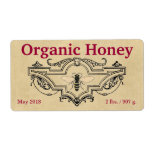 Organic Honey Bee Cartouche Personalized Shipping Label