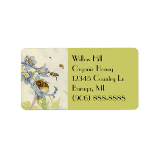 Organic Honey Bees Morning Glory Flowers Labels