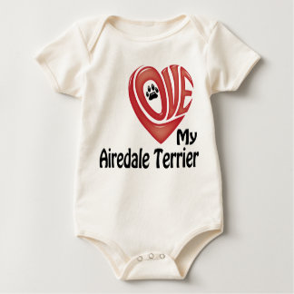 Organic Infant Creeper: Love My Airedale Terrier Baby Bodysuit