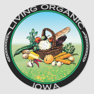 Organic Iowa Round Sticker
