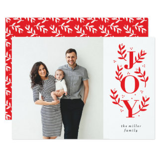 Organic Joy Holiday Photo Card