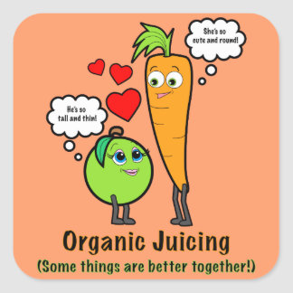 Organic Juicing with Carrot and Green Apple Square Sticker