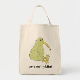 organic kiwi bird grocery bag