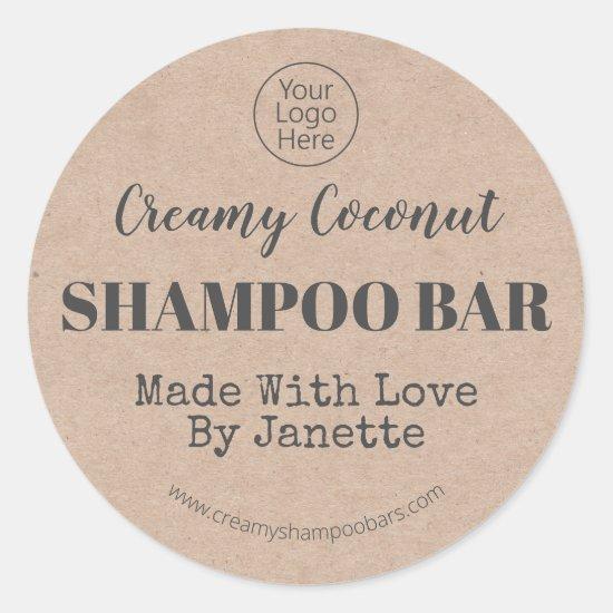 Organic Kraft Handmade Coconut Shampoo Bar Logo Classic Round Sticker