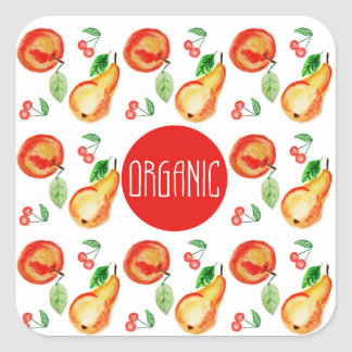 """Organic"" label with fruit frame"