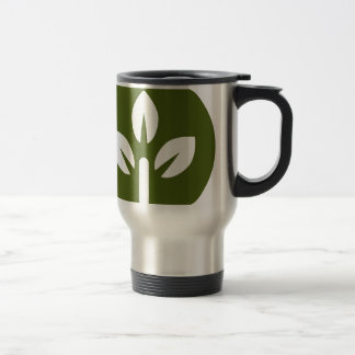 Organic Leaf Icon Button 15 Oz Stainless Steel Travel Mug