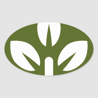 Organic Leaf Icon Button Oval Sticker
