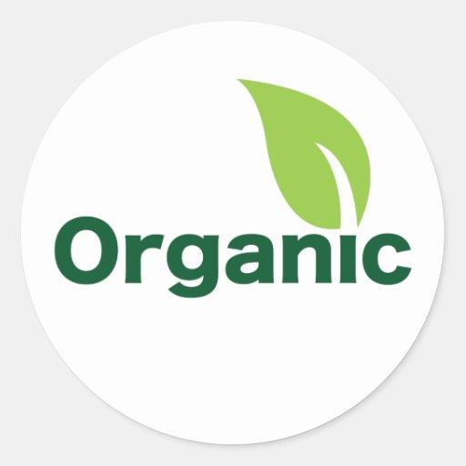 organic leaf round stickers