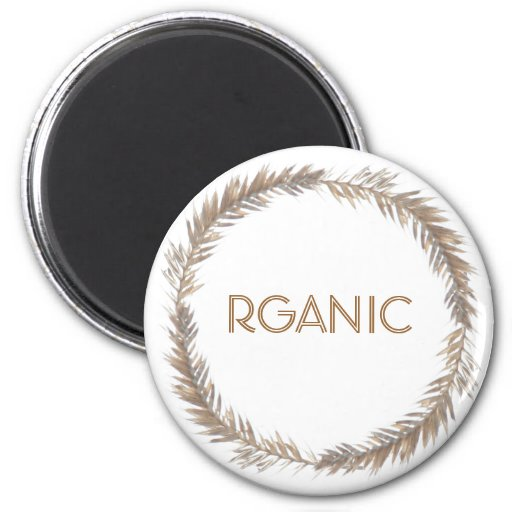 Organic Magnet, Wheat 2 Inch Round Magnet