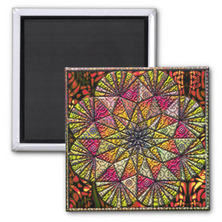 organic pattern collage 2 inch square magnet