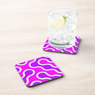Organic pattern pink and white textured coaster