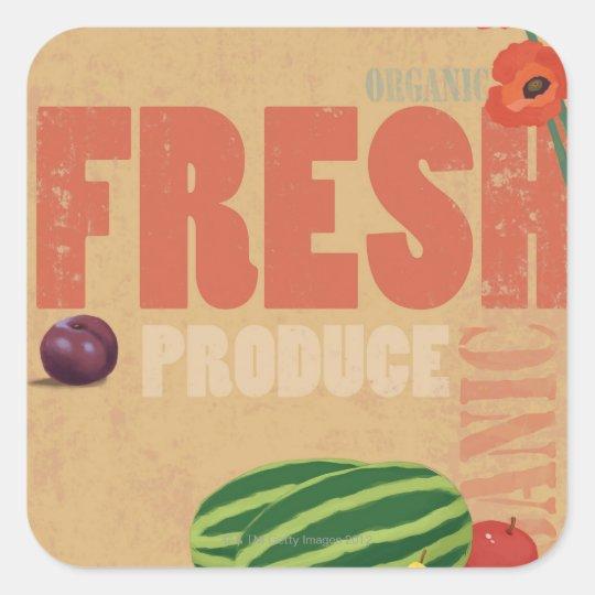 Organic Produce Square Sticker