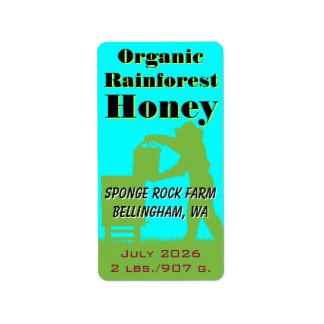 Organic Rainforest Honey Custom Beekeeper Custom Address Label