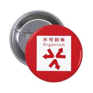 Organic refuse, Chinese Sign Pinback Button