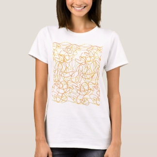 Organic Shapes in Orange, Gold and Yellow on White T-Shirt