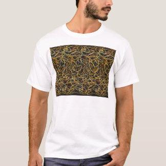 Organic Shapes in Orange, Gold & Yellow on Black T-Shirt