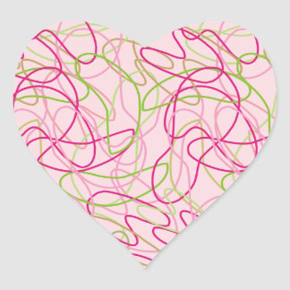Organic Shapes in Pink, Gold and Green on Pink Heart Sticker