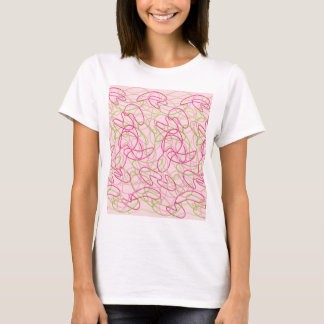Organic Shapes in Pink, Gold and Green on Pink T-Shirt