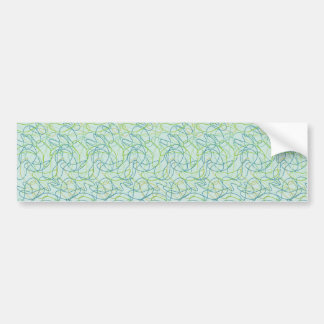 Organic Shapes in Teal, Gold, and Green on Teal Bumper Sticker
