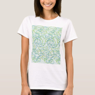 Organic Shapes in Teal, Gold, and Green on Teal T-Shirt