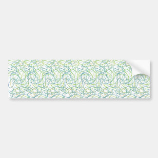 Organic Shapes in Teal, Gold, and Green on White Bumper Sticker